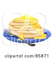 Royalty Free RF Clipart Illustration Of A Stack Of Flap Jacks With Melting Butter by BNP Design Studio
