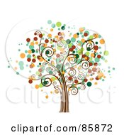 Royalty Free RF Clipart Illustration Of A Tree With Halftone Dot Foliage Version 4