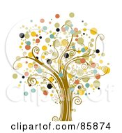 Royalty Free RF Clipart Illustration Of A Tree With Halftone Dot Foliage Version 2