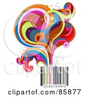 Royalty Free RF Clipart Illustration Of Funky Colorful Swirls Rising From A Bar Code by BNP Design Studio