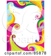 Royalty Free RF Clipart Illustration Of A Border Of Funky Colorful Waves And Circles With White Space by BNP Design Studio