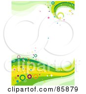 Royalty Free RF Clipart Illustration Of A Funky Green Wave With Colorful Circles