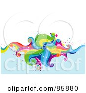Royalty Free RF Clipart Illustration Of A Funky Colorful Wave Over Blue Water With White Space by BNP Design Studio