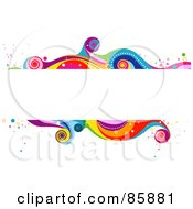 Royalty Free RF Clipart Illustration Of A White Text Box With Funky Colorful Waves by BNP Design Studio