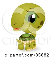 Royalty Free RF Clipart Illustration Of An Adorable Big Head Baby Tortoise by BNP Design Studio