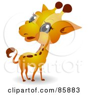Royalty Free RF Clipart Illustration Of An Adorable Big Head Baby Giraffe by BNP Design Studio