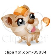 Royalty Free RF Clipart Illustration Of An Adorable Big Head Baby Lion Cub
