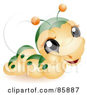 Royalty Free RF Clipart Illustration Of An Adorable Big Head Baby Caterpillar by BNP Design Studio