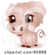 Royalty Free RF Clipart Illustration Of An Adorable Big Head Baby Piggy by BNP Design Studio
