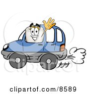 Tooth Mascot Cartoon Character Driving A Blue Car And Waving