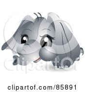 Royalty Free RF Clipart Illustration Of An Adorable Big Head Baby Elephant