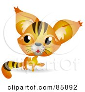 Royalty Free RF Clipart Illustration Of An Adorable Big Head Baby Orange Kitty Cat