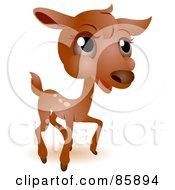 Royalty Free RF Clipart Illustration Of An Adorable Big Head Baby Deer by BNP Design Studio