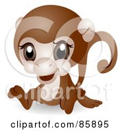 Royalty Free RF Clipart Illustration Of An Adorable Big Head Baby Monkey