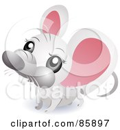 Royalty Free RF Clipart Illustration Of An Adorable Big Head Baby White Mouse by BNP Design Studio