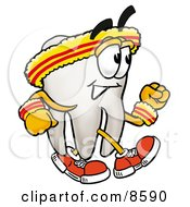 Clipart Picture Of A Tooth Mascot Cartoon Character Speed Walking Or Jogging