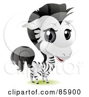 Royalty Free RF Clipart Illustration Of An Adorable Big Head Baby Zebra by BNP Design Studio
