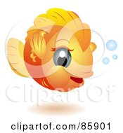 Royalty Free RF Clipart Illustration Of An Adorable Big Head Baby Goldfish by BNP Design Studio