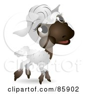 Royalty Free RF Clipart Illustration Of An Adorable Big Head Baby Lamb by BNP Design Studio