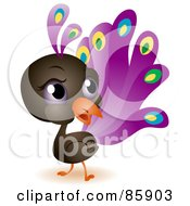 Royalty Free RF Clipart Illustration Of An Adorable Big Head Baby Peacock by BNP Design Studio