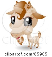 Royalty Free RF Clipart Illustration Of An Adorable Big Head Baby Goat by BNP Design Studio