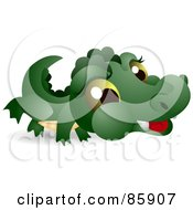 Royalty Free RF Clipart Illustration Of An Adorable Big Head Baby Alligator