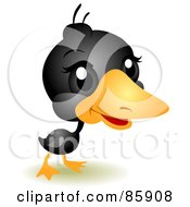 Royalty Free RF Clipart Illustration Of An Adorable Big Head Baby Black Duckling by BNP Design Studio