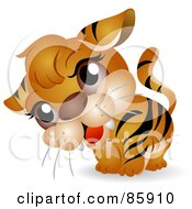 Royalty Free RF Clipart Illustration Of An Adorable Big Head Baby Tiger by BNP Design Studio