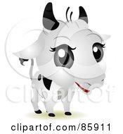 Royalty Free RF Clip Art Illustration Of An Adorable Big Head Baby Dairy Cow