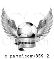 Royalty-Free (RF) Clipart Illustration of a Shiny Soccer Ball With Silver Feathered Wings And A Blank Banner by Elaine Barker