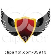 Royalty Free RF Clipart Illustration Of A Red And Gold Shiny Shield With Black Feathered Wings
