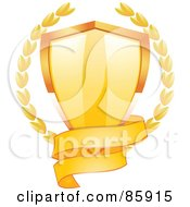 Royalty Free RF Clipart Illustration Of A Blank Gold Banner Around The Bottom Of A Shiny Shield With Laurels by elaineitalia