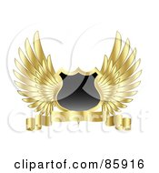 Royalty Free RF Clipart Illustration Of A Blank Shield With Feathered Golden Wings And A Blank Banner by KJ Pargeter #COLLC85916-0055