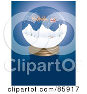 Santa Snow Globe On Blue