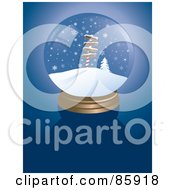 Royalty Free RF Clipart Illustration Of A North Pole Snow Globe On Blue