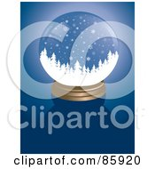 Royalty Free RF Clipart Illustration Of A Forest Snow Globe On Blue by Rasmussen Images