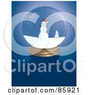 Royalty Free RF Clipart Illustration Of A Frosty The Snowman Snow Globe On Blue