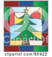 Royalty Free RF Clipart Illustration Of A Christmas Tree Stained Glass Window Design