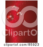 Royalty Free RF Clipart Illustration Of A Magical Red Christmas Bauble Background With Sparkles And Copyspace