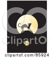 Royalty Free RF Clipart Illustration Of A Freaked Black Cat Silhouetted Against A Full Moon On Black