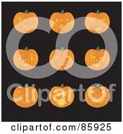 Royalty Free RF Clip Art Illustration Of A Digital Collage Of Halloween Pumpkins With Different Facial Expressions by Rasmussen Images