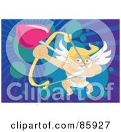 Royalty Free RF Clipart Illustration Of A Blond Cupid Launching A Heart Shaped Arrow by mayawizard101