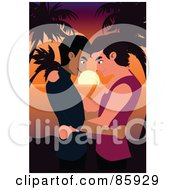 Royalty Free RF Clipart Illustration Of A Romantic Gay Couple Standing Face To Face Against A Tropical Sunset by mayawizard101