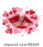 Royalty Free RF Clipart Illustration Of A Red Pair Of Lips Over Pink Spots With Red Hearts On White by mayawizard101
