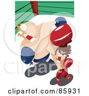 Royalty Free RF Clipart Illustration Of A Short Boxer Socking A Fat Opponent by mayawizard101