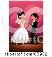 Happy Wedding Couple With Red Roses
