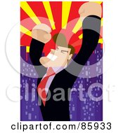 Royalty Free RF Clipart Illustration Of A Successful Businessman Celebrating Under A City Sunset by mayawizard101