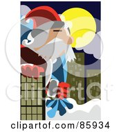 Royalty Free RF Clipart Illustration Of A Giant Santa In A City by mayawizard101