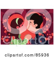 Royalty Free RF Clipart Illustration Of A Young Couple Smooching Over A Background Of Hearts by mayawizard101