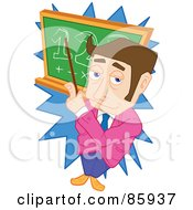 Brunette Male Teacher Pointing At Math On A Board